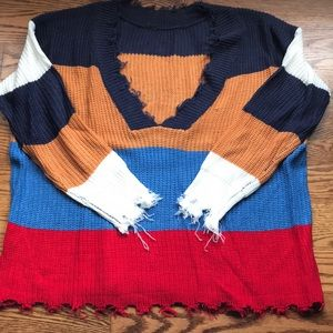 Distressed lightweight colorful sweater
